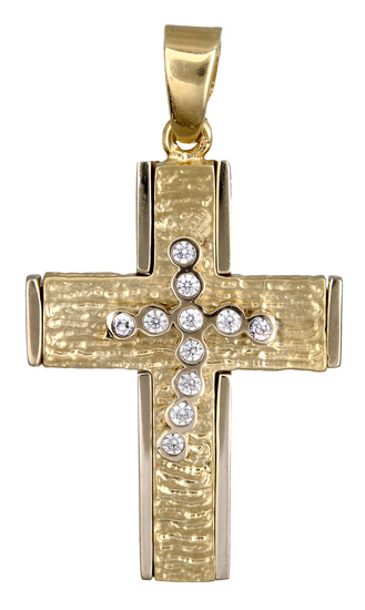 Σταυροί Βάπτισης - Αρραβώνα Γυναικείος σταυρός με ζιργκόν 14Κ 017899 017899 Γυναικείο Χρυσός 14 Καράτια