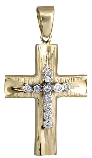 Σταυροί Βάπτισης - Αρραβώνα Γυναικείος σταυρός με ζιργκόν 017925 017925 Γυναικείο Χρυσός 14 Καράτια