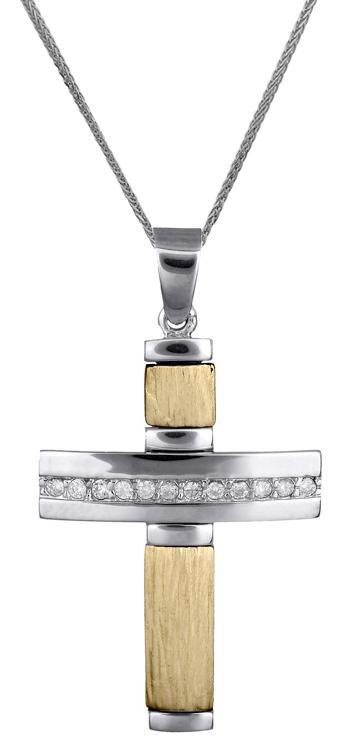 Βαπτιστικοί Σταυροί με Αλυσίδα Γυναικείος δίχρωμος σταυρός 14Κ C017928 017928C Γυναικείο Χρυσός 14 Καράτια