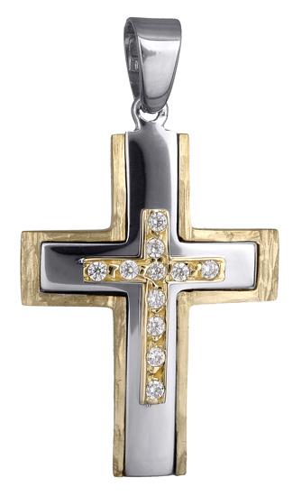 Σταυροί Βάπτισης - Αρραβώνα Γυναικείος δίχρωμος σταυρός 14Κ 017929 017929 Γυναικείο Χρυσός 14 Καράτια