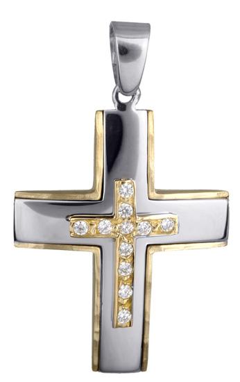 Σταυροί Βάπτισης - Αρραβώνα Γυναικείος δίχρωμος σταυρός με ζιργκόν 14Κ 017930 017930 Γυναικείο Χρυσός 14 Καράτια