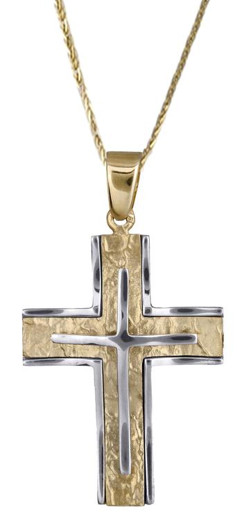 Βαπτιστικοί Σταυροί με Αλυσίδα Σταυρός ανδρικός δίχρωμος 14Κ C017932 017932C Ανδρικό Χρυσός 14 Καράτια