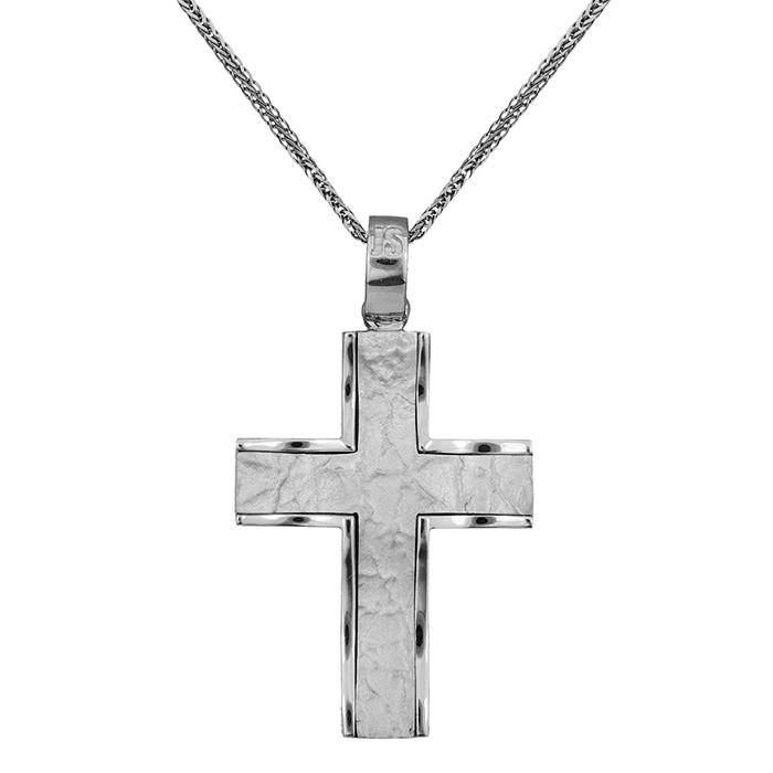 Βαπτιστικοί Σταυροί με Αλυσίδα Ανδρικός σταυρός Κ18 C017943 017943C Ανδρικό Χρυσός 18 Καράτια