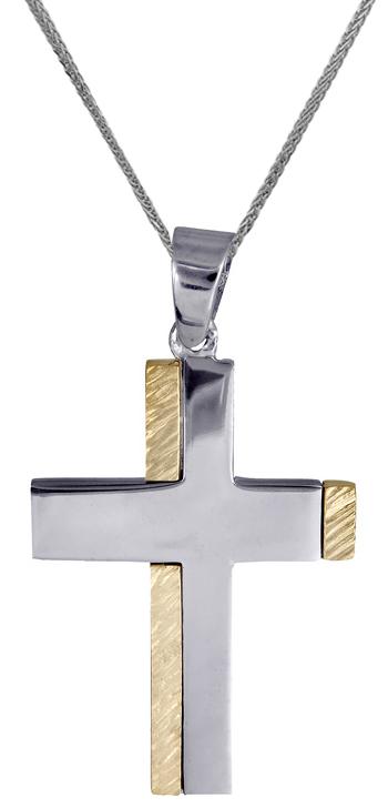 Βαπτιστικοί Σταυροί με Αλυσίδα Σταυρός ανδρικός δίχρωμος 14Κ C018009 018009C Ανδρικό Χρυσός 14 Καράτια