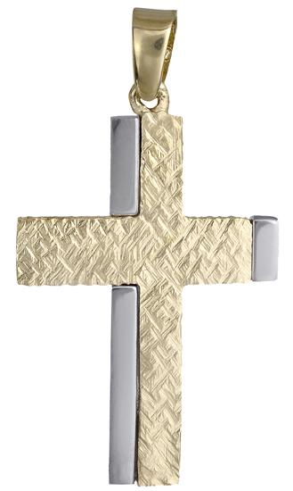Σταυροί Βάπτισης - Αρραβώνα Δίχρωμος αντρικός σταυρός για βάπτιση 018010 018010 Ανδρικό Χρυσός 14 Καράτια