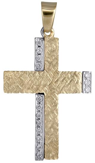 Σταυροί Βάπτισης - Αρραβώνα Γυναικείος σταυρός με ζιργκόν 018011 018011 Γυναικείο Χρυσός 14 Καράτια