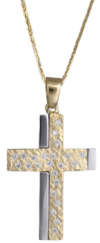 Βαπτιστικοί Σταυροί με Αλυσίδα Γυναικείος σταυρός με ζιργκόν 14Κ C018012 018012C Γυναικείο Χρυσός 14 Καράτια