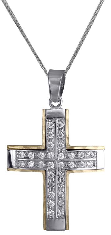 Βαπτιστικοί Σταυροί με Αλυσίδα Σταυρός για κορίτσι 14Κ c018014 018014C Γυναικείο Χρυσός 14 Καράτια