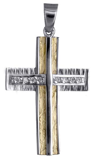 Σταυροί Βάπτισης - Αρραβώνα Γυναικείος σταυρός σε διχρωμία 018015 018015 Γυναικείο Χρυσός 14 Καράτια