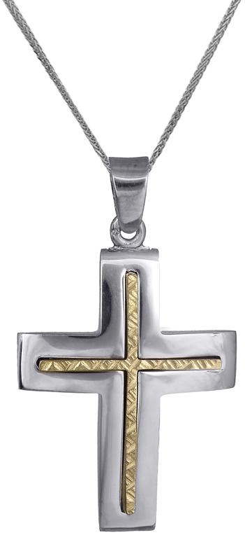 Βαπτιστικοί Σταυροί με Αλυσίδα Σταυρός βαπτιστικός για αγόρι δίχρωμος 14Κ c01801 σταυροί βάπτισης   γάμου βαπτιστικοί σταυροί με αλυσίδα