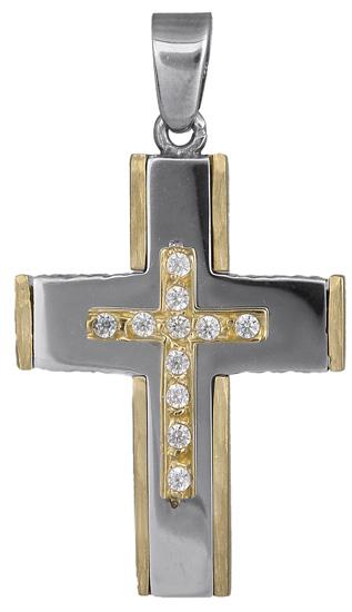 Σταυροί Βάπτισης - Αρραβώνα Γυναικείος δίχρωμος σταυρός 14Κ 018020 018020 Γυναικείο Χρυσός 14 Καράτια