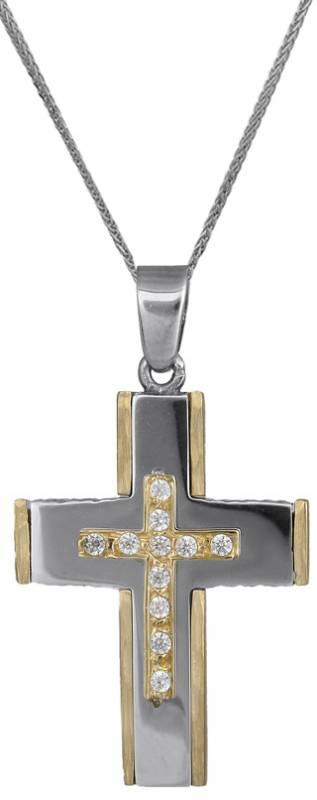 Βαπτιστικοί Σταυροί με Αλυσίδα Σταυρός για κορίτσι με πέτρες ζιργκόν 14Κ c018020 018020C Γυναικείο Χρυσός 14 Καράτια