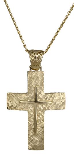Βαπτιστικοί Σταυροί με Αλυσίδα Χρυσός σταυρός C018028 018028C Ανδρικό Χρυσός 14 Καράτια