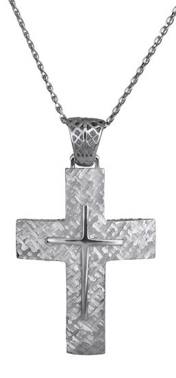 Βαπτιστικοί Σταυροί με Αλυσίδα Λευκόχρυσος χειροποίητος σταυρός C018031 018031C Ανδρικό Χρυσός 14 Καράτια