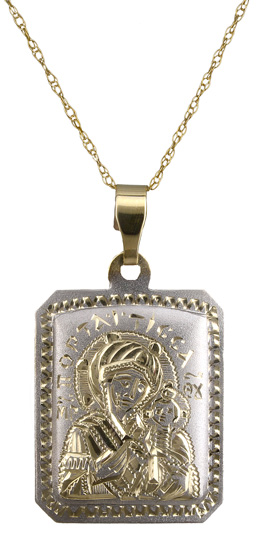 Δίχρωμο φυλαχτό Κ14 με αλυσίδα C018075 018075C Χρυσός 14 Καράτια