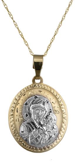 Χειροποίητο φυλαχτό δίχρωμο με αλυσίδα C018076 018076C Χρυσός 14 Καράτια
