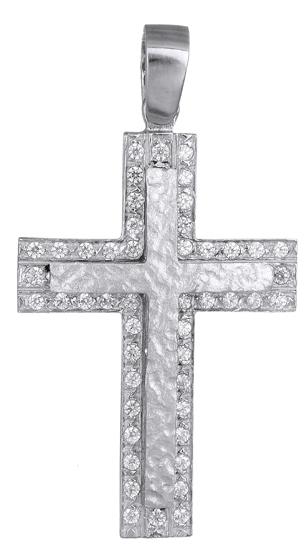 Σταυροί Βάπτισης - Αρραβώνα Λευκόχρυσος σταυρός 14Κ 017082 018082 Γυναικείο Χρυσός 14 Καράτια