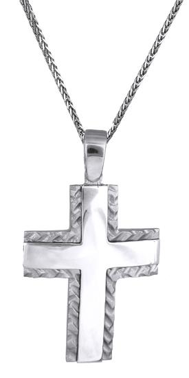 Βαπτιστικοί Σταυροί με Αλυσίδα Λευκόχρυσος σταυρός 14Κ C018083 018083C Ανδρικό Χρυσός 14 Καράτια