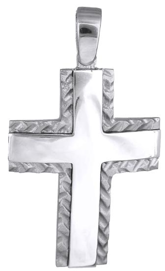 Σταυροί Βάπτισης - Αρραβώνα Λευκόχρυσος σταυρός 14Κ 018083 018083 Ανδρικό Χρυσός 14 Καράτια