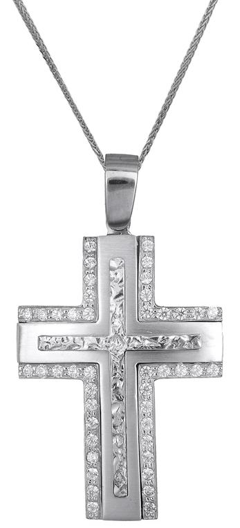 Βαπτιστικοί Σταυροί με Αλυσίδα Λευκόχρυσος σταυρός 14Κ C018085 018085C Γυναικείο Χρυσός 14 Καράτια