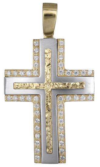 Σταυροί Βάπτισης - Αρραβώνα Γυναικείος δίχρωμος σταυρός 14Κ 018086 018086 Γυναικείο Χρυσός 14 Καράτια