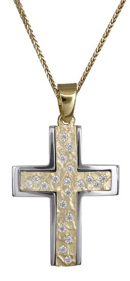 Βαπτιστικοί Σταυροί με Αλυσίδα Σταυρός για κορίτσι 14Κ c018178 018178C Γυναικείο Χρυσός 14 Καράτια