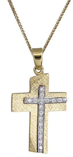 Βαπτιστικοί Σταυροί με Αλυσίδα Σταυρός για κορίτσι 14Κ c018181 018181C Γυναικείο Χρυσός 14 Καράτια