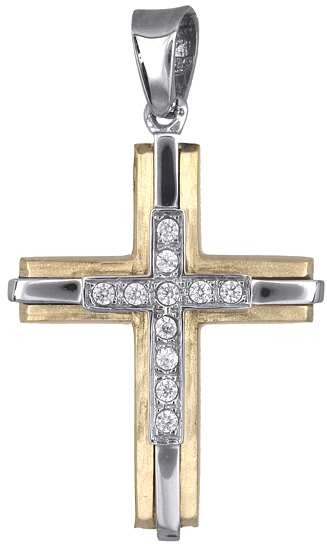 Σταυροί Βάπτισης - Αρραβώνα Δίχρωμος σταυρός γυναικείος 14Κ 018235 018235 Γυναικείο Χρυσός 14 Καράτια