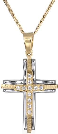 Βαπτιστικοί Σταυροί με Αλυσίδα Χρυσός σταυρός για γυναίκες Κ14 C018236 018236C Γυναικείο Χρυσός 14 Καράτια