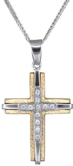 Βαπτιστικοί Σταυροί με Αλυσίδα Γυναικείοι σταυροί δίχρωμοι C018237 018237C Γυναικείο Χρυσός 14 Καράτια