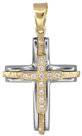 Σταυροί Βάπτισης - Αρραβώνα Δίχρωμος σταυρός γυναικείος 018238 018238 Γυναικείο Χρυσός 14 Καράτια