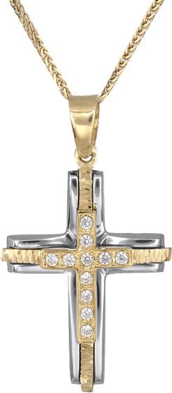 Βαπτιστικοί Σταυροί με Αλυσίδα Γυναικείοι σταυροί με ζιργκόν Κ14 C018238 018238C Γυναικείο Χρυσός 14 Καράτια