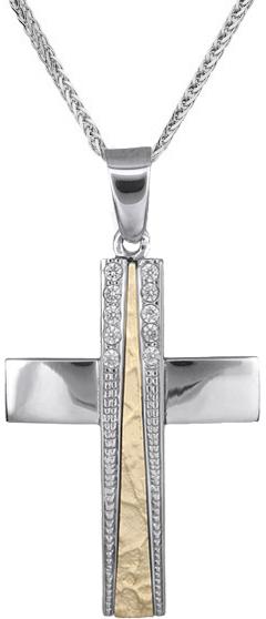 Βαπτιστικοί Σταυροί με Αλυσίδα Γυναικείοι σταυροί δίχρωμοι με ζιργκόν C018241 018241C Γυναικείο Χρυσός 14 Καράτια