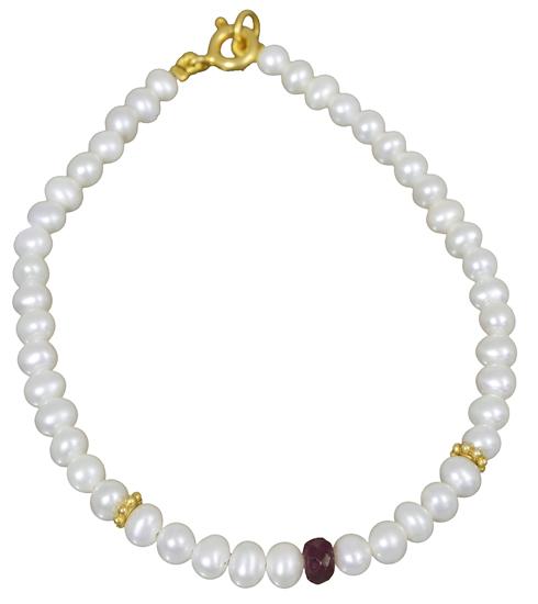 Βραχιόλι με μαργαριτάρια και ρουμπίνι 018255 018255 Ασήμι