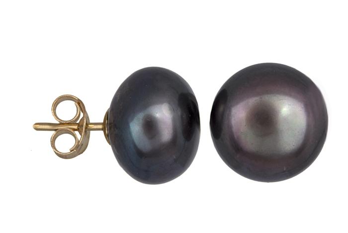 Σκουλαρίκια με μαύρα μαργαριτάρια 018266 018266 Χρυσός 14 Καράτια χρυσά κοσμήματα σκουλαρίκια καρφωτά