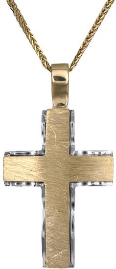 Βαπτιστικοί Σταυροί με Αλυσίδα Ανδρικός σταυρός Κ18 C018538 018538C Ανδρικό Χρυσός 18 Καράτια