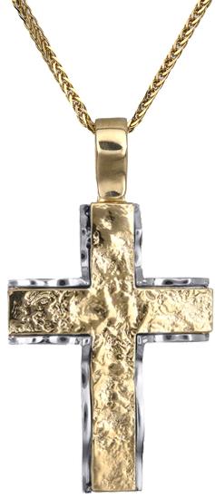 Βαπτιστικοί Σταυροί με Αλυσίδα Ανδρικός δίχρωμος σταυρός Κ14 C018282 018282C Ανδρικό Χρυσός 14 Καράτια