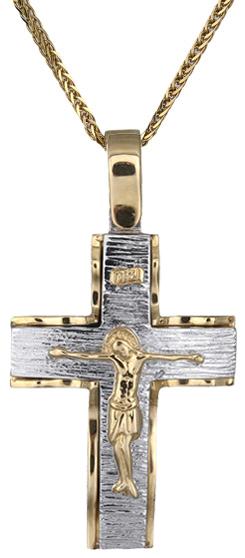 Βαπτιστικοί Σταυροί με Αλυσίδα Ανδρικός δίχρωμος σταυρός Κ14 C018283 018283C Ανδρικό Χρυσός 14 Καράτια