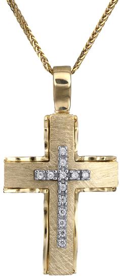 Βαπτιστικοί Σταυροί με Αλυσίδα Γυναικείος σταυρός Κ14 C018284 018284C Γυναικείο Χρυσός 14 Καράτια