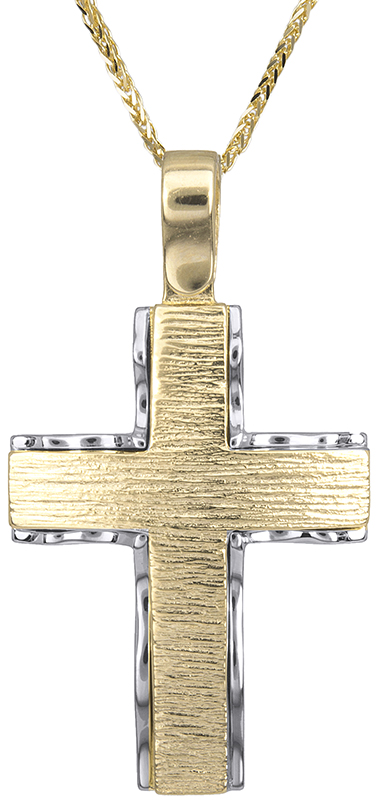 Βαπτιστικοί Σταυροί με Αλυσίδα Ανδρικός δίχρωμος σταυρός Κ14 C018286 018286C Ανδ σταυροί βάπτισης   γάμου βαπτιστικοί σταυροί με αλυσίδα
