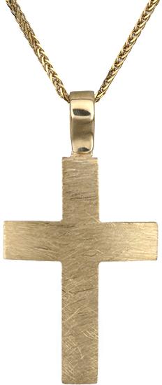 Βαπτιστικοί Σταυροί με Αλυσίδα Χρυσός σταυρός Κ18 με αλυσίδα C019916 019916C Ανδρικό Χρυσός 18 Καράτια