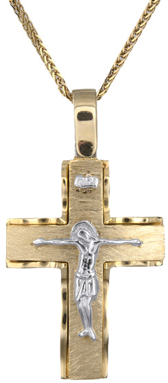 Βαπτιστικοί Σταυροί με Αλυσίδα Ανδρικός δίχρωμος σταυρός Κ14 C018289 018289C Ανδρικό Χρυσός 14 Καράτια