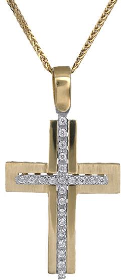 Βαπτιστικοί Σταυροί με Αλυσίδα Γυναικείος σταυρός Κ14 C018291 018291C Γυναικείο Χρυσός 14 Καράτια