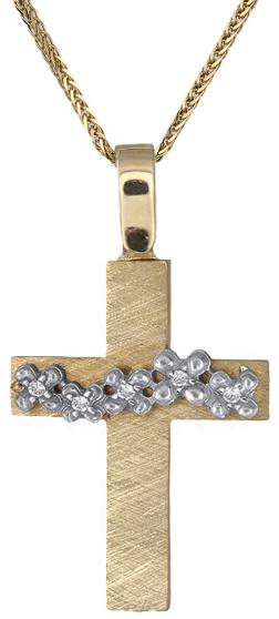 Βαπτιστικοί Σταυροί με Αλυσίδα Γυναικείος σταυρός Κ18 C018575 018575c Γυναικείο Χρυσός 18 Καράτια