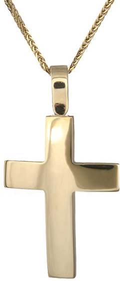Βαπτιστικοί Σταυροί με Αλυσίδα Χρυσός οικονομικός σταυρός Κ14 C018294 018294C Ανδρικό Χρυσός 14 Καράτια