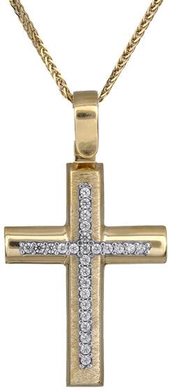 Βαπτιστικοί Σταυροί με Αλυσίδα Γυναικείος σταυρός Κ14 C018297 018297C Γυναικείο Χρυσός 14 Καράτια