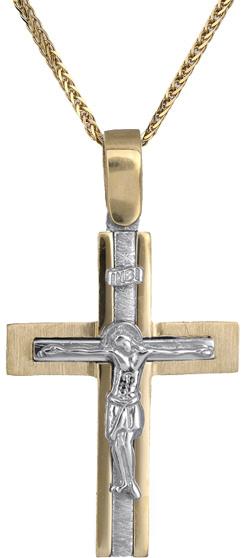 Βαπτιστικοί Σταυροί με Αλυσίδα Ανδρικός δίχρωμος σταυρός Κ14 C018298 018298C Ανδ σταυροί βάπτισης   γάμου βαπτιστικοί σταυροί με αλυσίδα