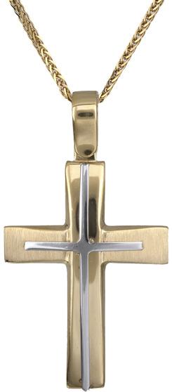 Βαπτιστικοί Σταυροί με Αλυσίδα Ανδρικός σταυρός Κ14 C018301 018301C Ανδρικό Χρυσός 14 Καράτια