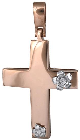 Σταυροί Βάπτισης - Αρραβώνα Ροζ χρυσός γυναικείος σταυρός 14Κ 018306 018306 Γυναικείο Χρυσός 14 Καράτια