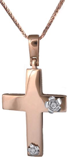 Βαπτιστικοί Σταυροί με Αλυσίδα Γυναικείος σταυρός Κ14 C018306 018306C Γυναικείο Χρυσός 14 Καράτια